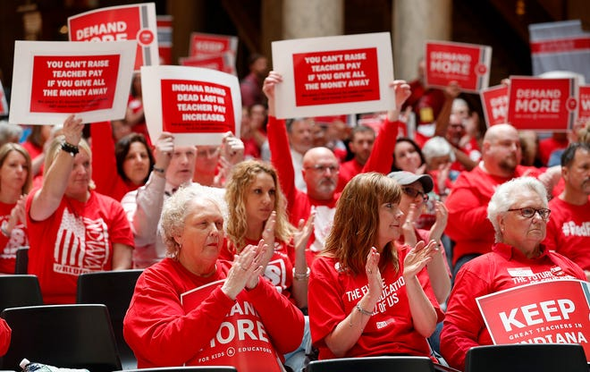 Hundreds of supports turned out for the Indiana Coalition for Public Education and their partners rally in support of better funding for K-12 education at the Indiana Statehouse on Tuesday, April 16, 2019. .