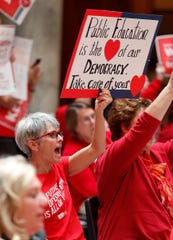 Hundreds of supports turned out for the Indiana Coalition for Public Education and their partners rally in support of better funding for K-12 education at the Indiana Statehouse on Tuesday, April 16, 2019.