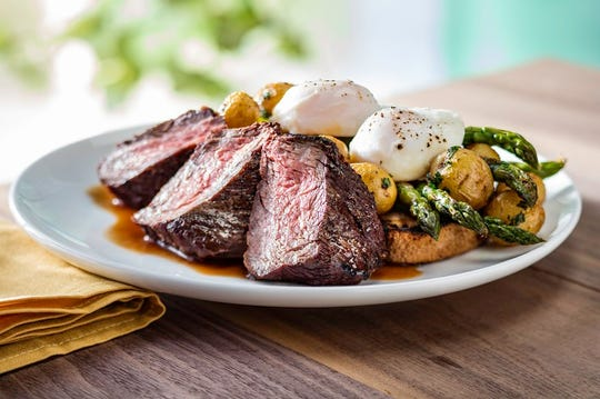 Steak and Eggs is one of five Easter brunch options at Seasons 52 on April 21. The $29.95 three-course meal features prime sirloin served with marble potatoes, roasted asparagus, wood-grilled sourdough and red wine sauce. A starter and a mini dessert are included.
