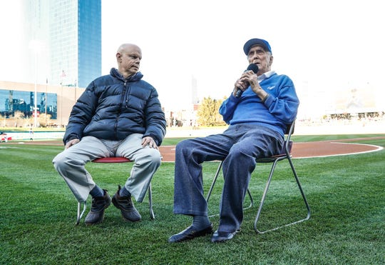 Voice of the Indianapolis, Howard Kellman, left, does a pregame interview with Anderson Ind. native an Former Brooklyn Dodgers pitcher, Carl Erskine, age 92, at Victory Field on Jackie Robinson Day, Monday, April 15, 2019. Erskine was a teammate of Robinson's for nine seasons while playing for the Brooklyn Dodgers from 1948-59.