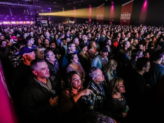 "Music fans packed the Pavilion at Pan Am when pop-rock band OneRepublic played the Big Ten football championship ""Kickoff Concert"" Nov. 30."