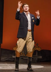 Notre Dame quarterback J.D. Carney in his role as Tom Buchanan in a campus production of 'The Great Gatsby'