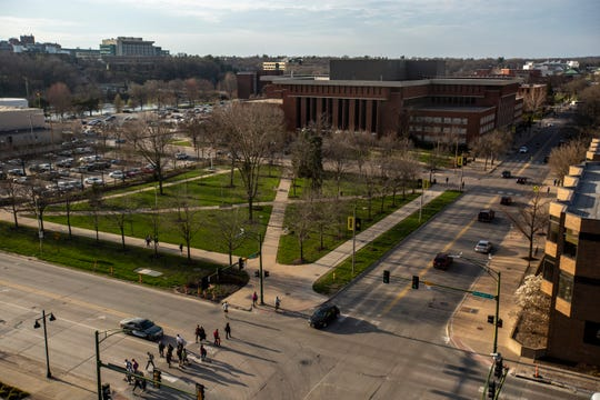 Gibson Square park is pictured on Monday, April 15, 2019, seen from the rooftop of 316 Madison apartments in Iowa City, Iowa.