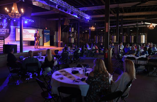 Mike Keith, voice of the Tennessee Titans, spoke to Forward Jackson2.0 investors and West Tennessee Titans season tick holders during an NFL Draft Preview event, Monday, April 15, at Hub City Brewing.