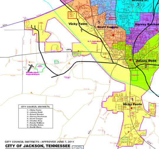 Jackson City Council District 1 covers the entire area known as South Jackson but also much of the land west ofUS 45 Bypass that's south of Interstate 40.