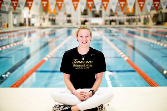 University of Tennessee senior swimmer Maddy Banic poses for a photo at the Alan Jones Aquatic Center in Knoxville, Tennessee on Tuesday, April 16, 2019. Banic, who tried to take her life two years ago, went through treatment her junior year and returned to become team captain and an advocate for mental health.