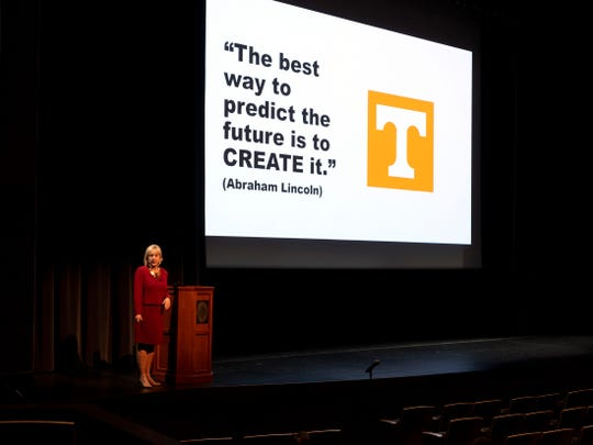 Donde Plowman, one of four candidates for the chancellor position at the University of Tennessee, during a public forum at the Student Union auditorium on Tuesday, April 16, 2019. Plowman is the current executive vice chancellor and chief academic officer at the University of Nebraska-Lincoln.