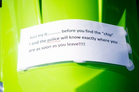 A sign on David Weech's 2016 Yamaha WaveRunner warns would-be thieves.