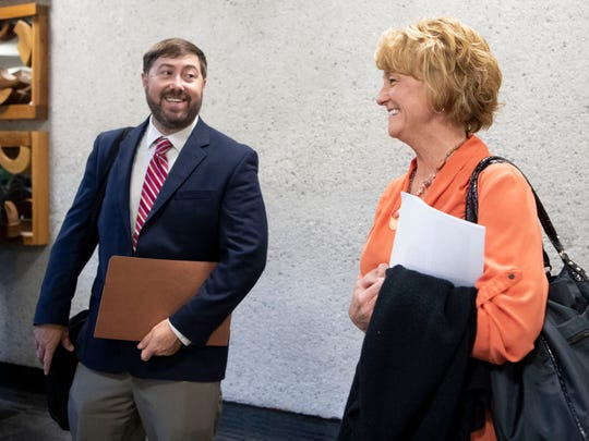 Wendy Corcoran is is greeted by Nathan Vatter, region 1 traffic engineer for the Tennessee Department of Transportation during a break in the Knox County Commission work shop on Monday, April 15, 2019.