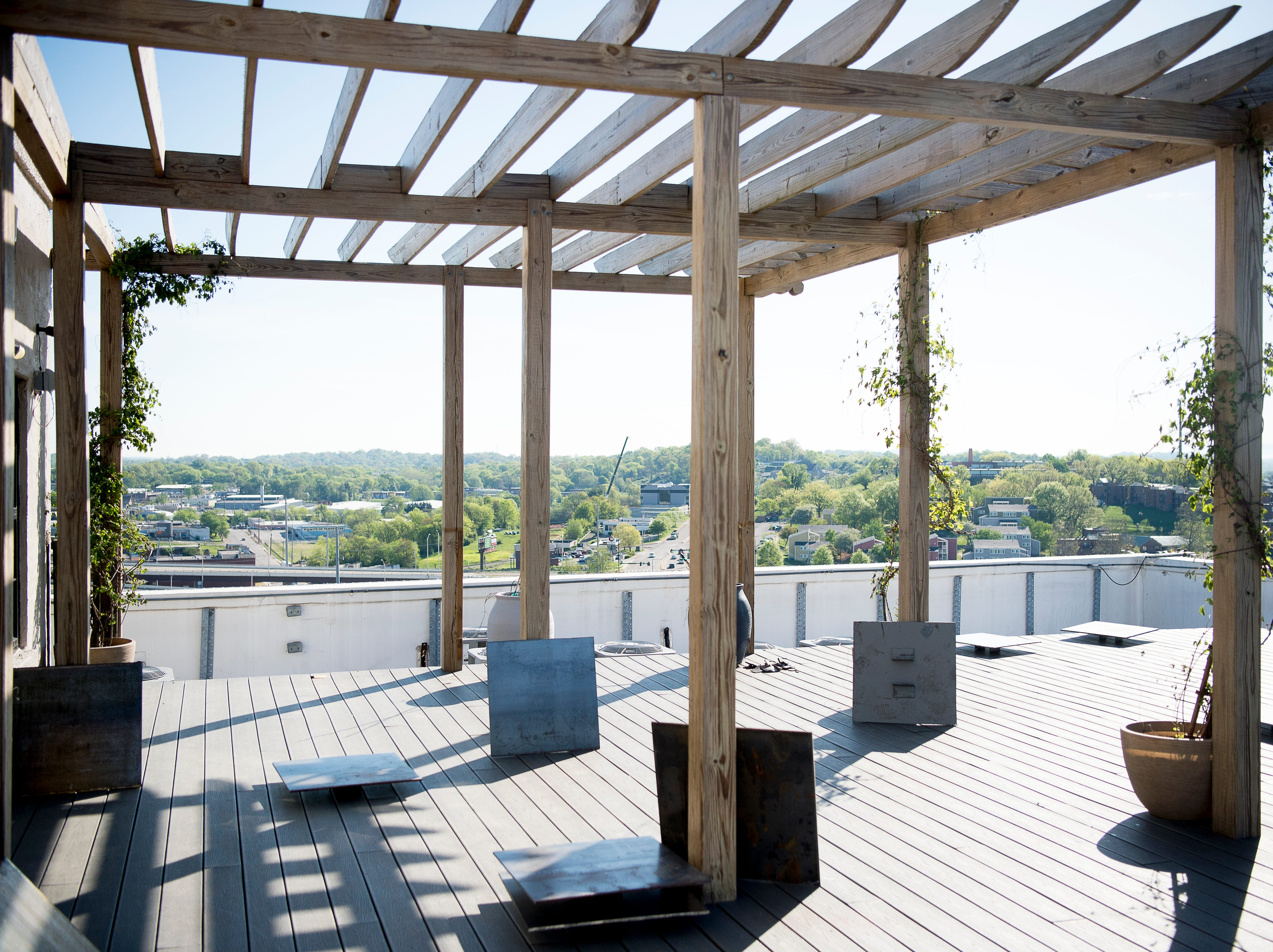 The rooftop patio atop Sterchi Lofts in Knoxville, Tennessee on Tuesday, April 16, 2019. Owner Lee Burch is installing a new railing costing an estimated $70,000.