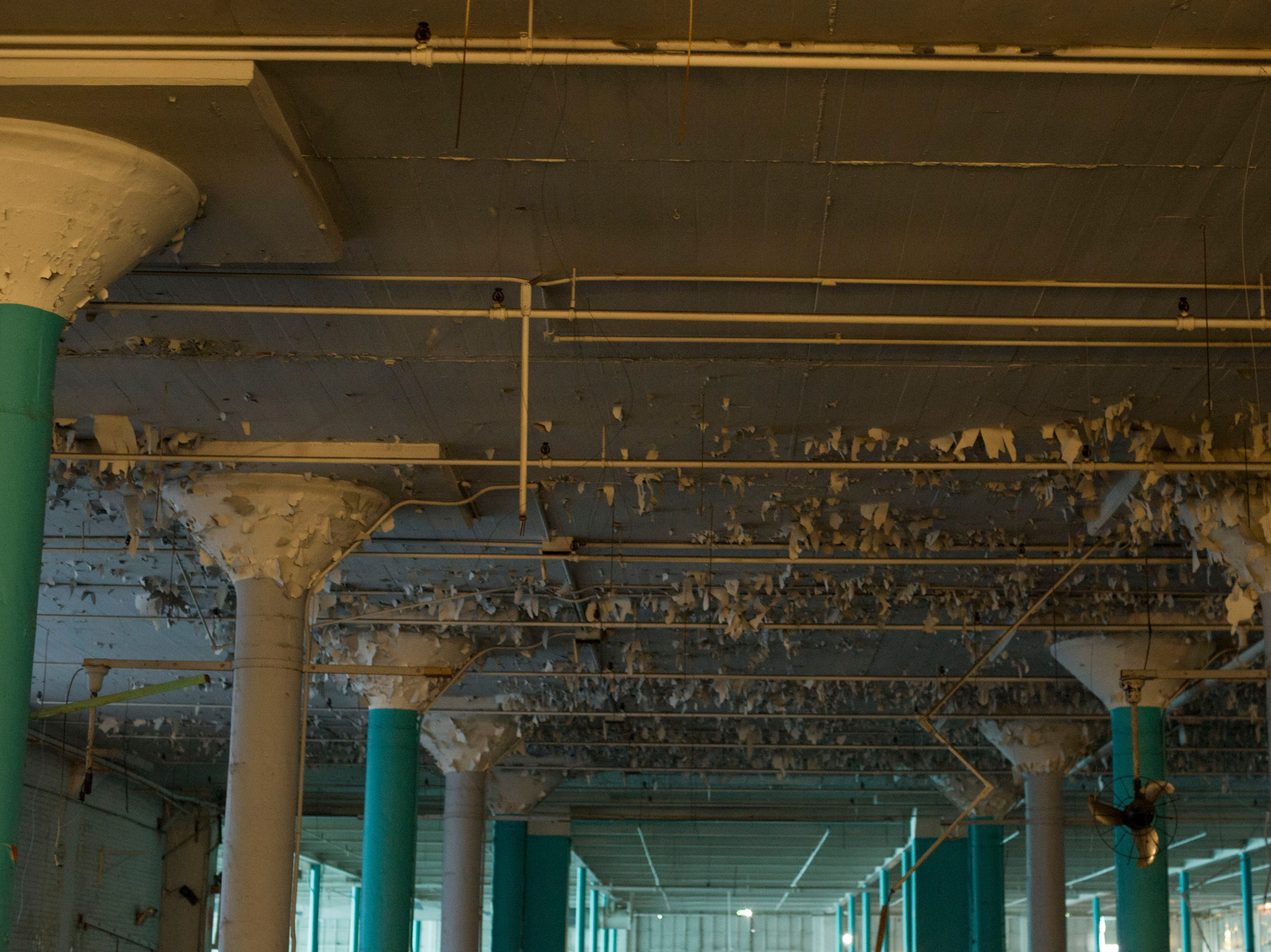 Material peels away from the ceiling at the Standard Knitting Mill building on Thursday, November 15, 2012.