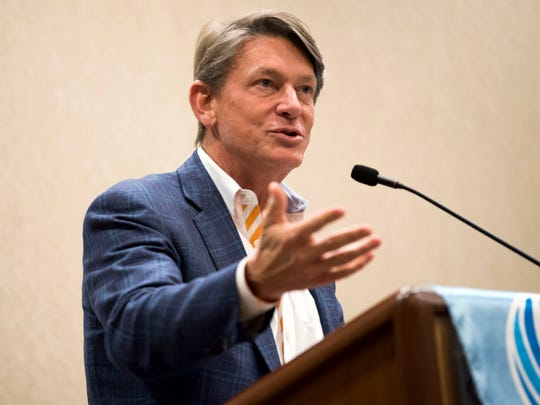 UT interim President Randy Boyd speaks with the Rotary Club of Knoxville at the club's meeting at Crowne Plaza in downtown Knoxville on Tuesday, April 16, 2019.