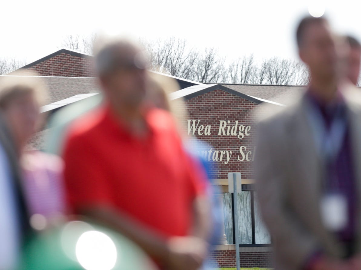 Wea Ridge Elementary School is seen from the site of the new Tippecanoe County Public Library south branch, Tuesday, April 16, 2019, in Lafayette. This is the third branch the library has built this decade.
