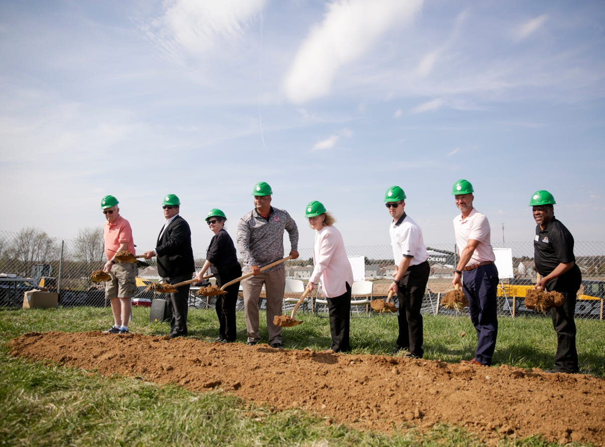 Ground breaking ceremony for the new Tippecanoe County Public Library south branch, Tuesday, April 16, 2019, in Lafayette. This is the third branch the library has built this decade.