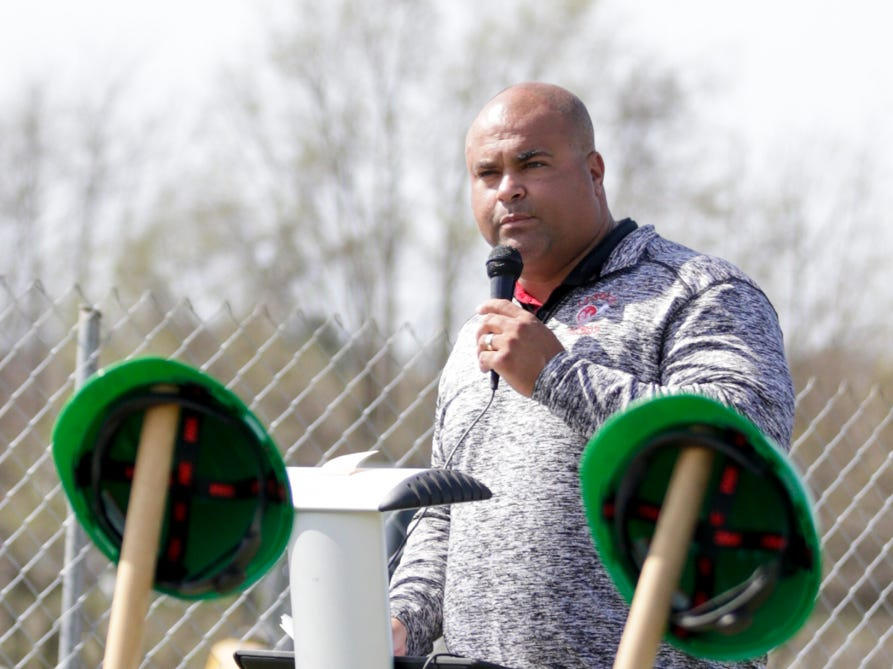 Brandon Hawkins, Tippecanoe County Public Library board member, speaks during a ground breaking ceremony for the new Tippecanoe County Public Library south branch, Tuesday, April 16, 2019, in Lafayette. This is the third branch the library has built this decade.