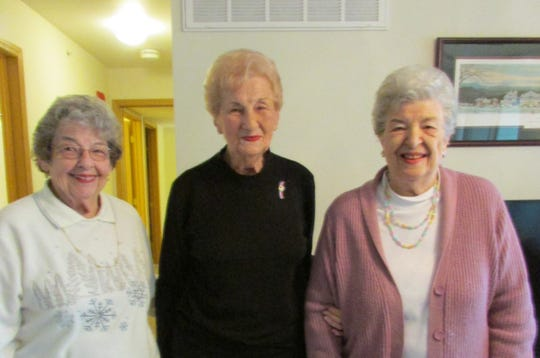 Dorothy Everhart, Ruth Bibler, and Clara Haley as they presented Ruth with her 70-year pin.