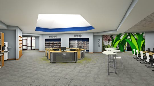 A rendering shows what the main lobby and circulation area in the Brighton District Library will look like after renovations.