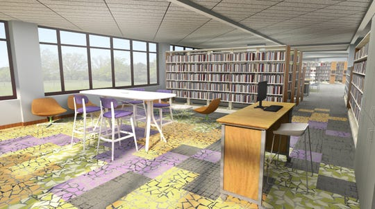 A rendering shows what the teen area of the Brighton District Library will look like after renovations