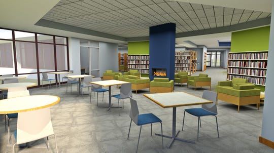 An architectural rendering shows what a reading room in the Brighton District Library will look like after renovations.