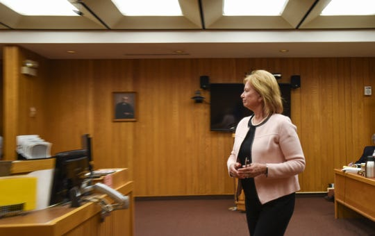 Michigan State University Provost June Youatt enters Judge Judy Reincke's the courtroom Tuesday, April 16, 2019, at the Eaton County Courthouse in Charlotte, Michigan.  Youatt was called to testify just before noon during former MSU President Lou Anna Simon's preliminary hearing in Charlotte, Michigan.  [USA Today Network/Matthew Dae Smith/Lansing State Journal]