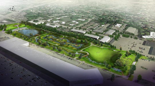 A rendering from the Spicer Group engineering firm shows an aerial view of improvements, including ponds and pathways, planned for Ranney Park just east of the Frandor Shopping Center in Lansing. The upgrades are part of a $30 million drain project to decrease flooding and prevent pollution from spilling into the Red Cedar River.