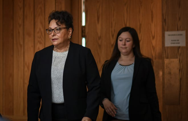 Paulette Granberry Russell, left, enters Eaton County Judge Julie Reincke's courtroom, Tuesday, April 16, 2019, in Charlotte, Michigan. Granberry Russell was head of MSU's Title IX office when a 2014 complaint was filed regarding abuse by Larry Nassar.  Granberry Russell was one of Simon's senior advisers.   [USA Today Network/Matthew Dae Smith/Lansing State Journal]