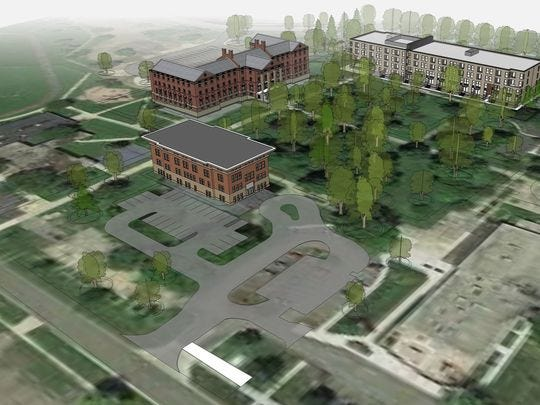 The former Michigan School for the Blind site in Lansing is the focus of a redevelopment project that will add 132 units of mixed income housing within the next year.