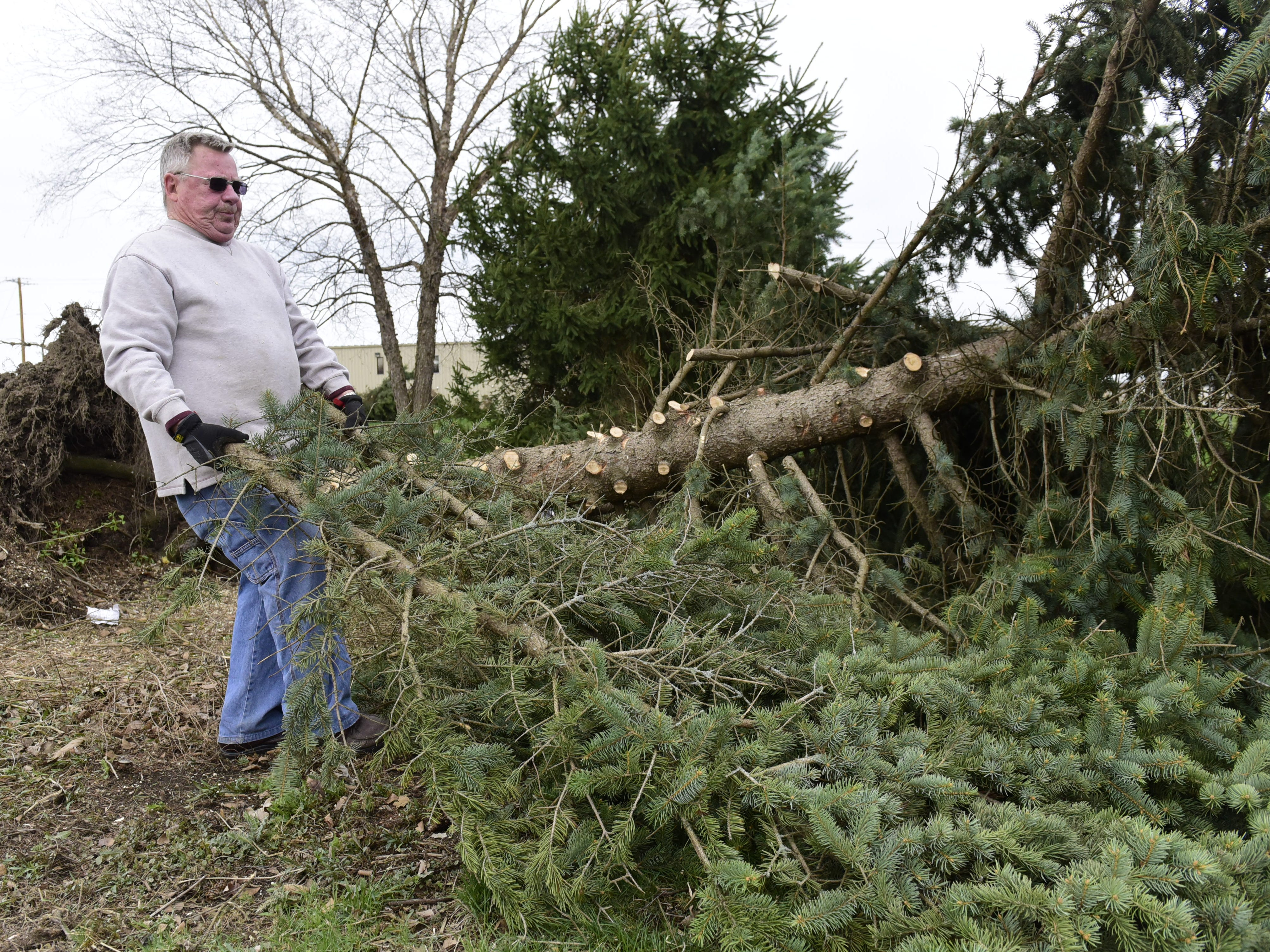 Ed Grove pulls a few fallen tree branches Tuesday behind a rental property near the intersection of Wareham Road and Technology Parkway in Shelby.