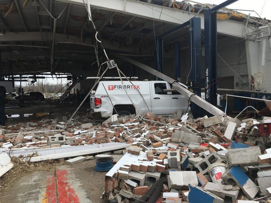 Rocket Chevrolet in Shelby lost its service center to the tornado Sunday.