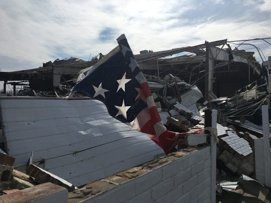 The service building at Rocket Chevrolet was destroyed by the tornado but owner Brett Schluter said he will rebuild.