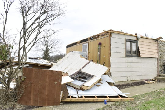 A tornado ripped the garage off a house along Wareham Road in Shelby.