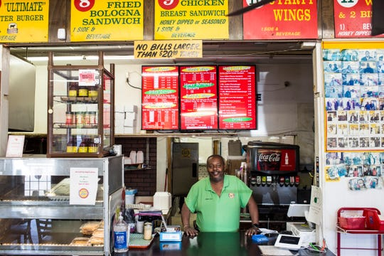 April 16, 2019 - Louis Martin, owner of Uncle Lou's Fried Chicken, at the restaurant's location at 3633 Millbranch Road. Uncle Lou's Fried Chicken was featured on the Food Network in 2008.