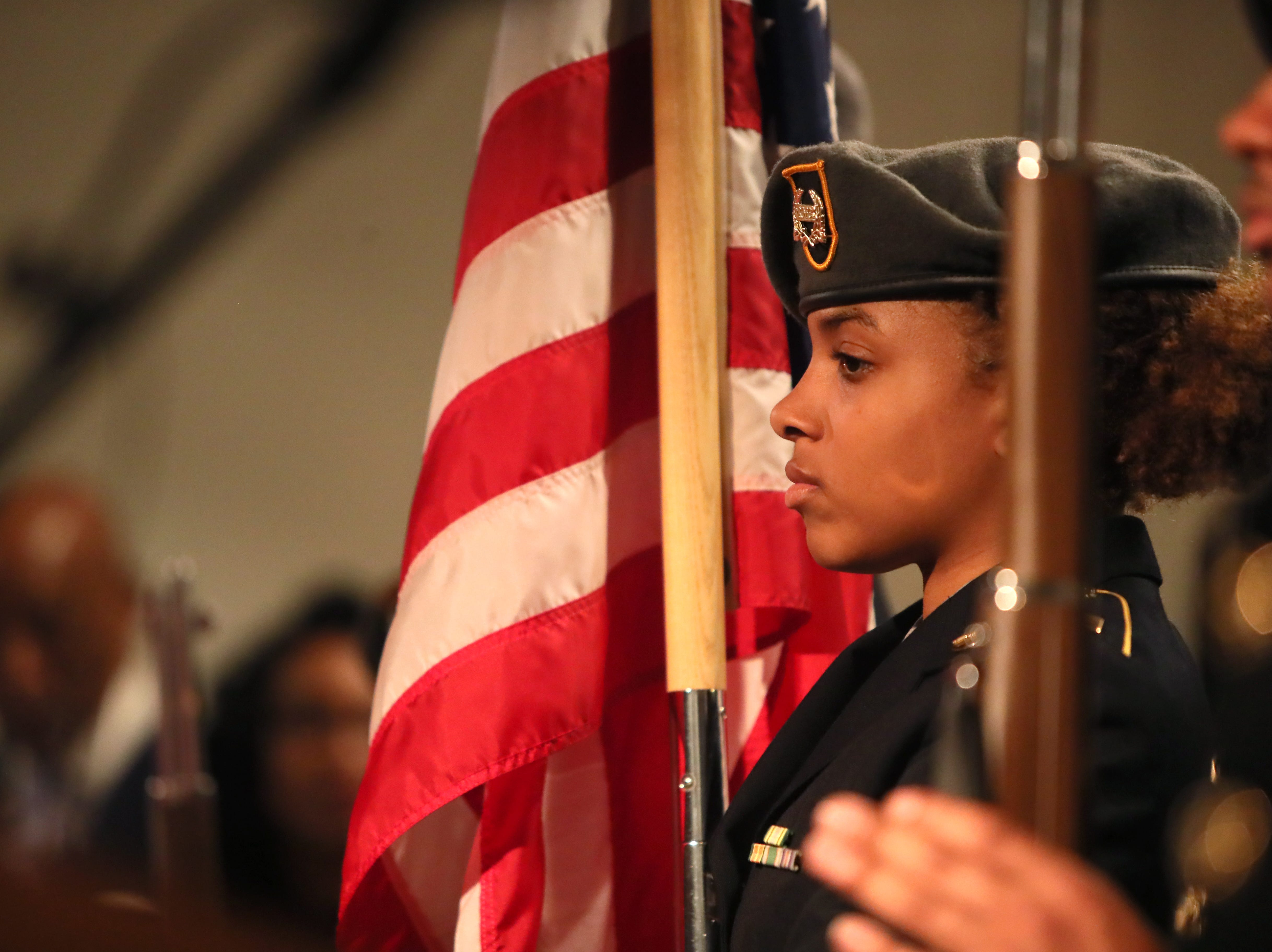 The Whitehaven High School ROTC Color Guard presents the colors during a ceremony for Phyllis Aluko, who is sworn in as Shelby County's first female chief public defender at the Walter L. Bailey, Jr. Criminal Justice Center on Tuesday, April 16, 2019.