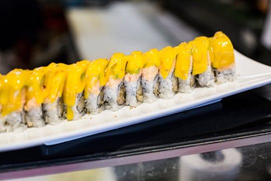 April 03, 2019 - The mango roll is seen at Sakura Japanese Restaurant in Germantown.
