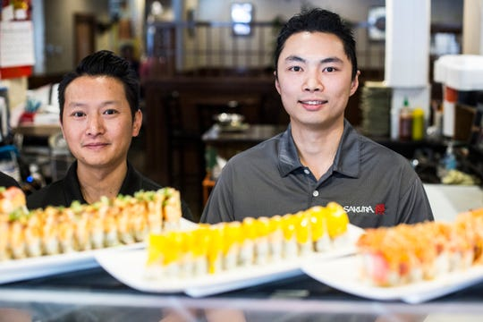 April 03, 2019 - Owners Benny Leung, left, and Victor Chin at Sakura Japanese Restaurant in Germantown.