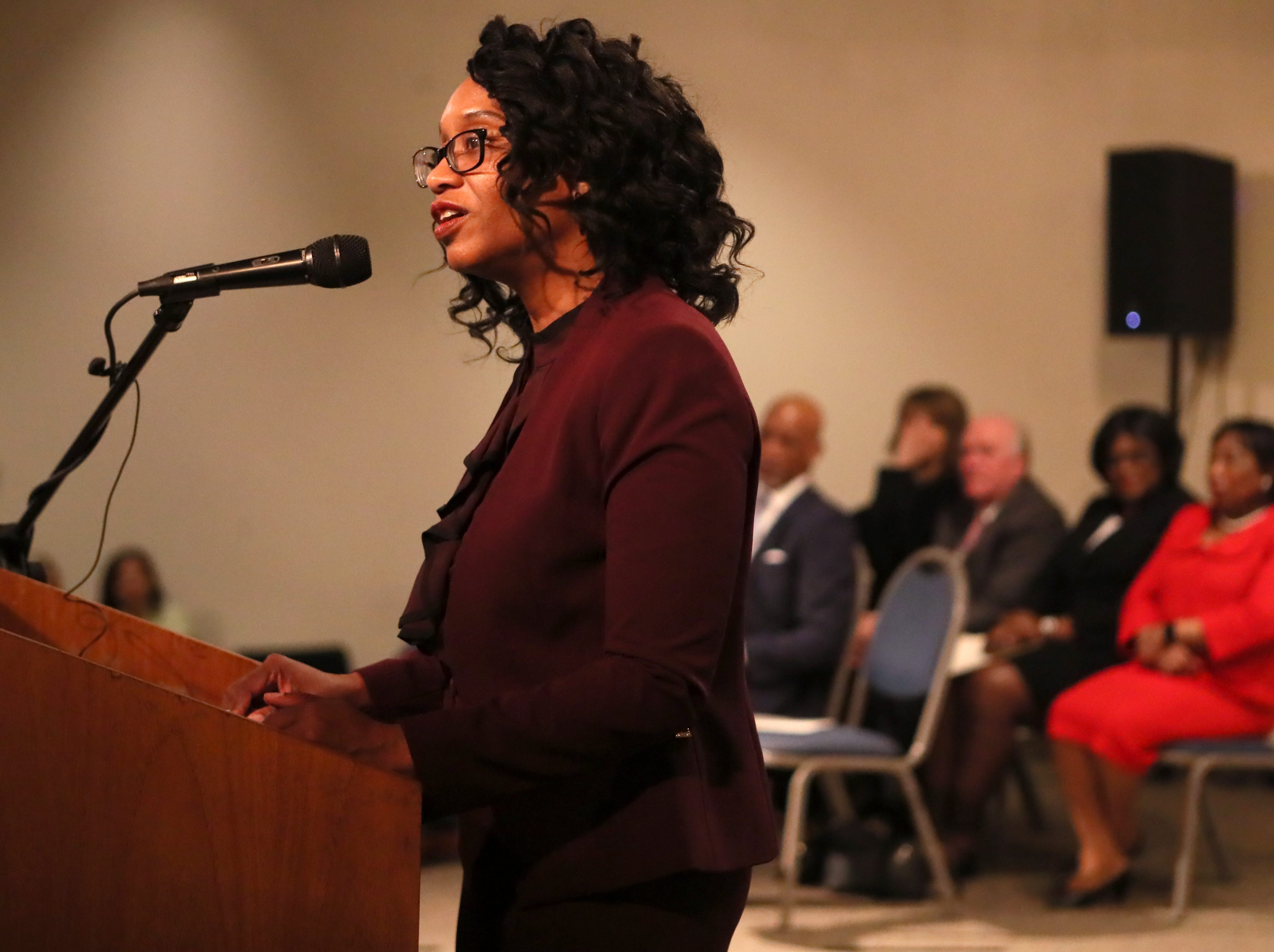 Phyllis Aluko speaks while being sworn in as Shelby County's first female chief public defender at the Walter L. Bailey, Jr. Criminal Justice Center on Tuesday, April 16, 2019.