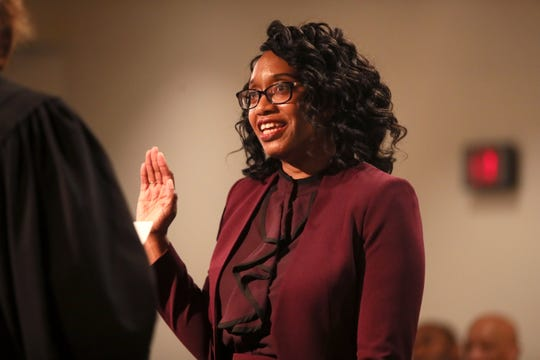 Phyllis Aluko is sworn in as Shelby County's first female chief public defender at the Walter L. Bailey, Jr. Criminal Justice Center on Tuesday, April 16, 2019.