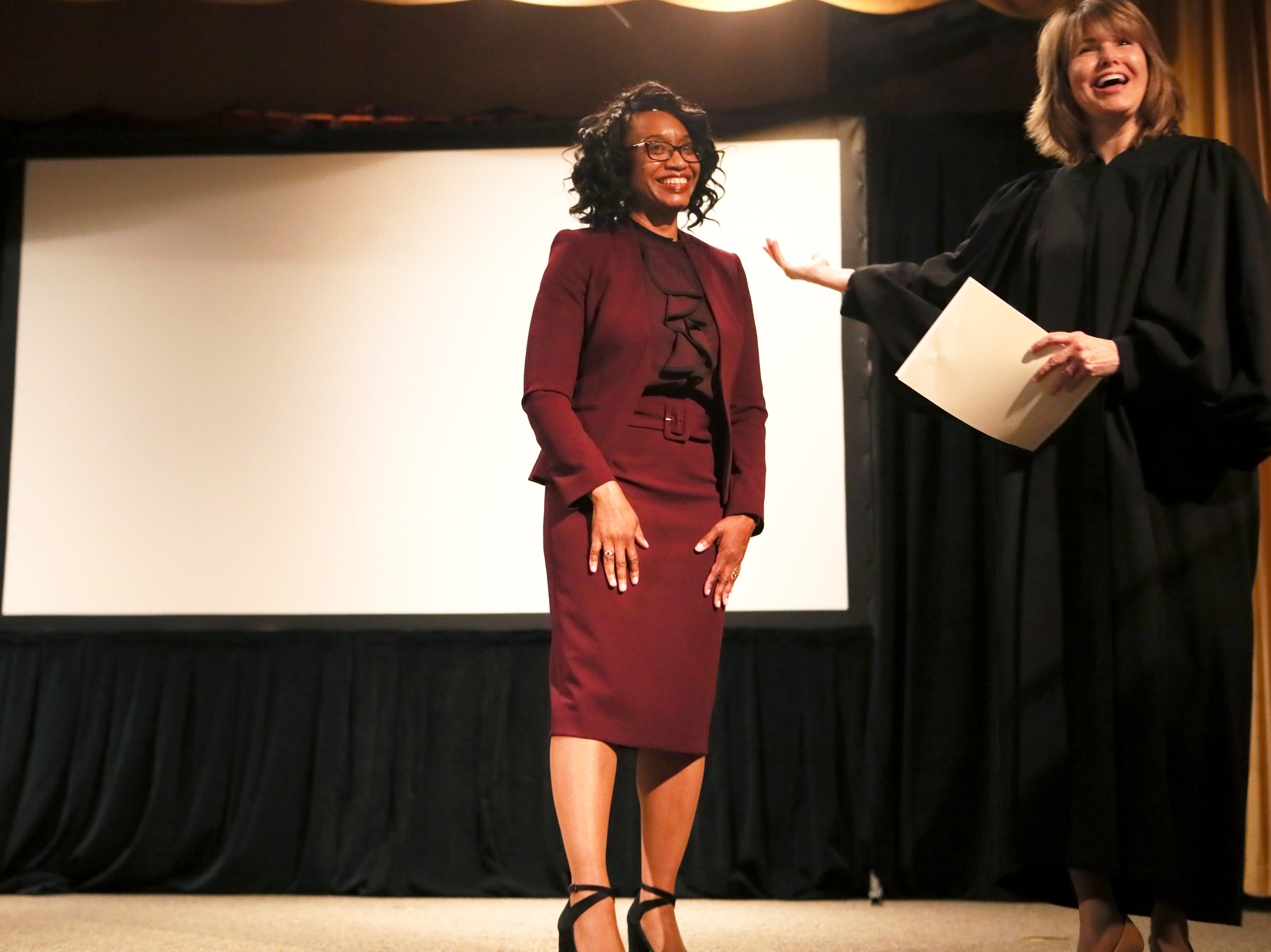 Justice of the Tennessee Supreme Court Holly Kirby officially introduces Phyllis Aluko after being sworn in as Shelby County's first female chief public defender at the Walter L. Bailey, Jr. Criminal Justice Center on Tuesday, April 16, 2019.