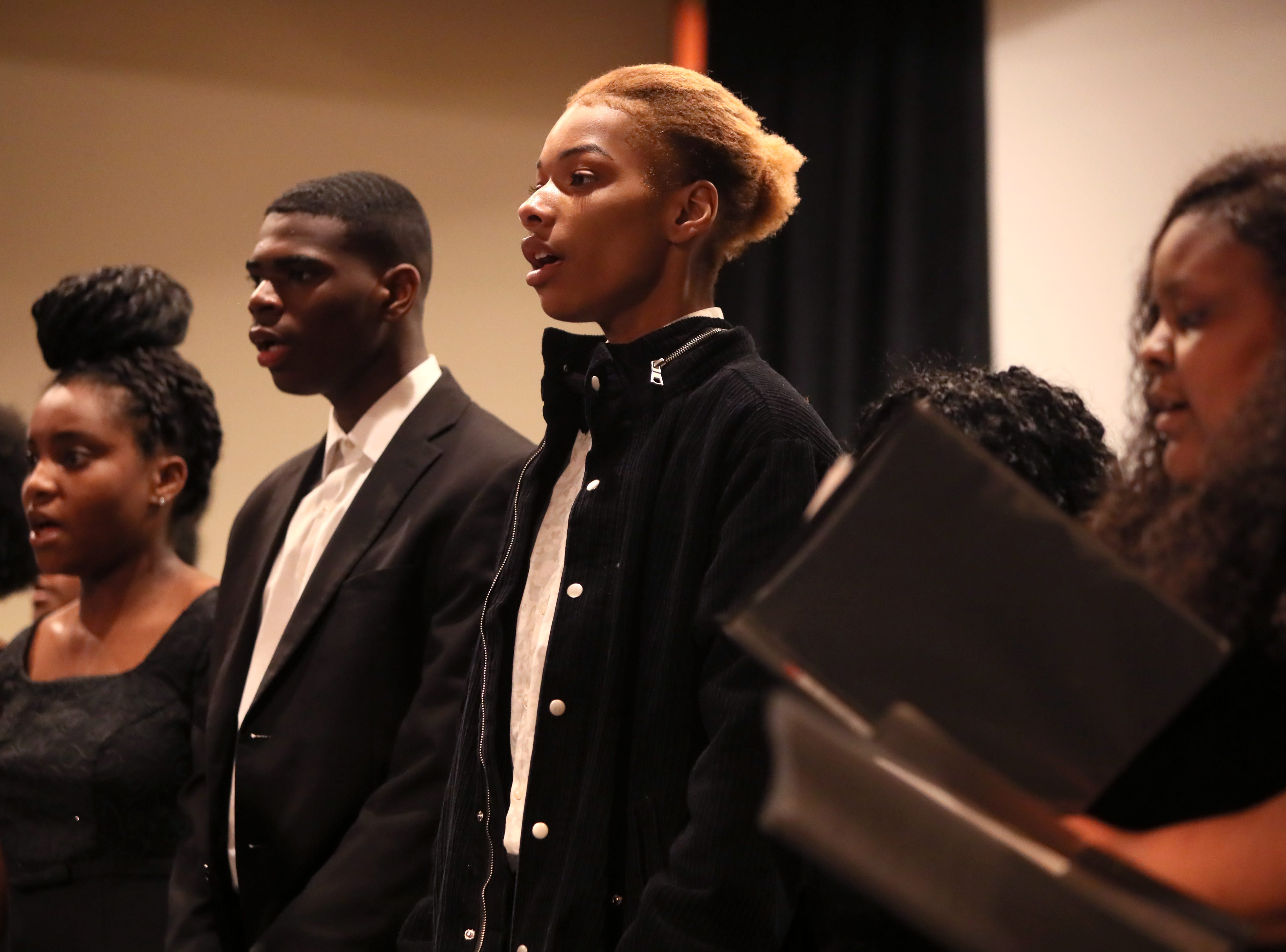 The Whitehaven High School Choir sings during a ceremony for Phyllis Aluko, who is sworn in as Shelby County's first female chief public defender at the Walter L. Bailey, Jr. Criminal Justice Center on Tuesday, April 16, 2019.