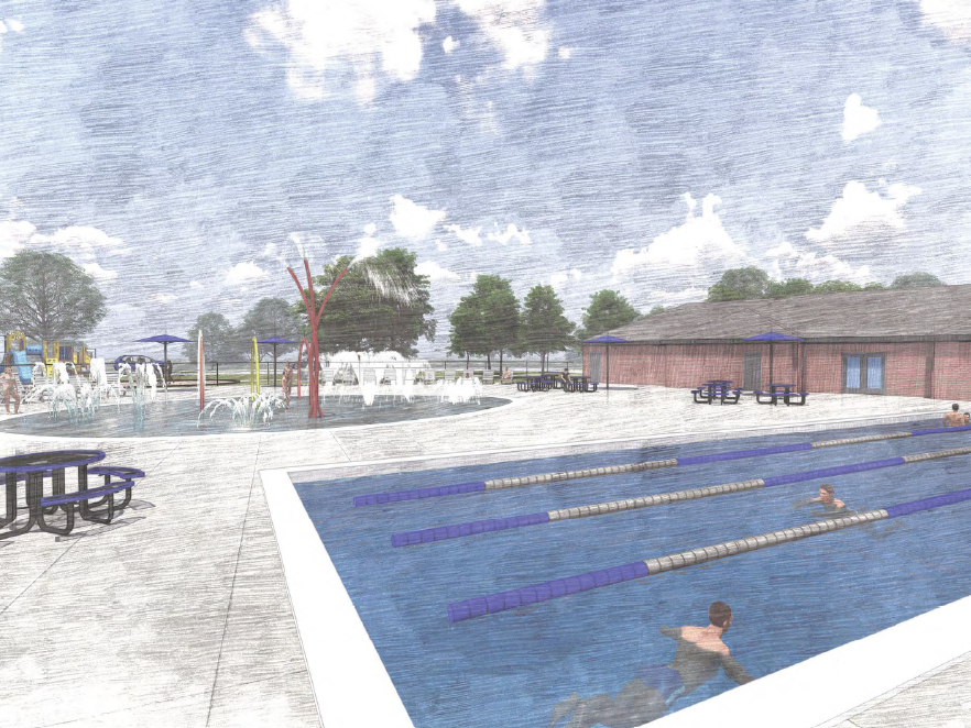 This rendering provides a more detailed pool at the neighborhood pool concept, which features a splash pad and a small lap pool.