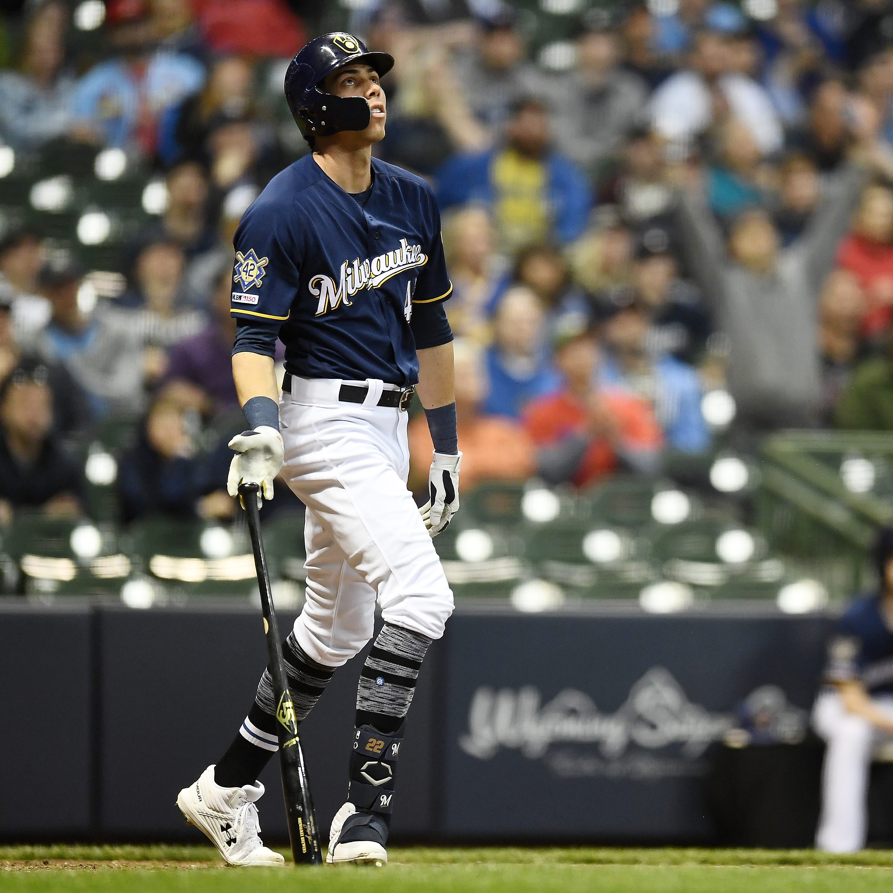 Early work pays immediate dividends for Christian Yelich as he homers three times