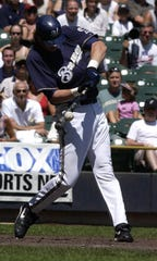 Brewers slugger Richie Sexson takes a home run swing.