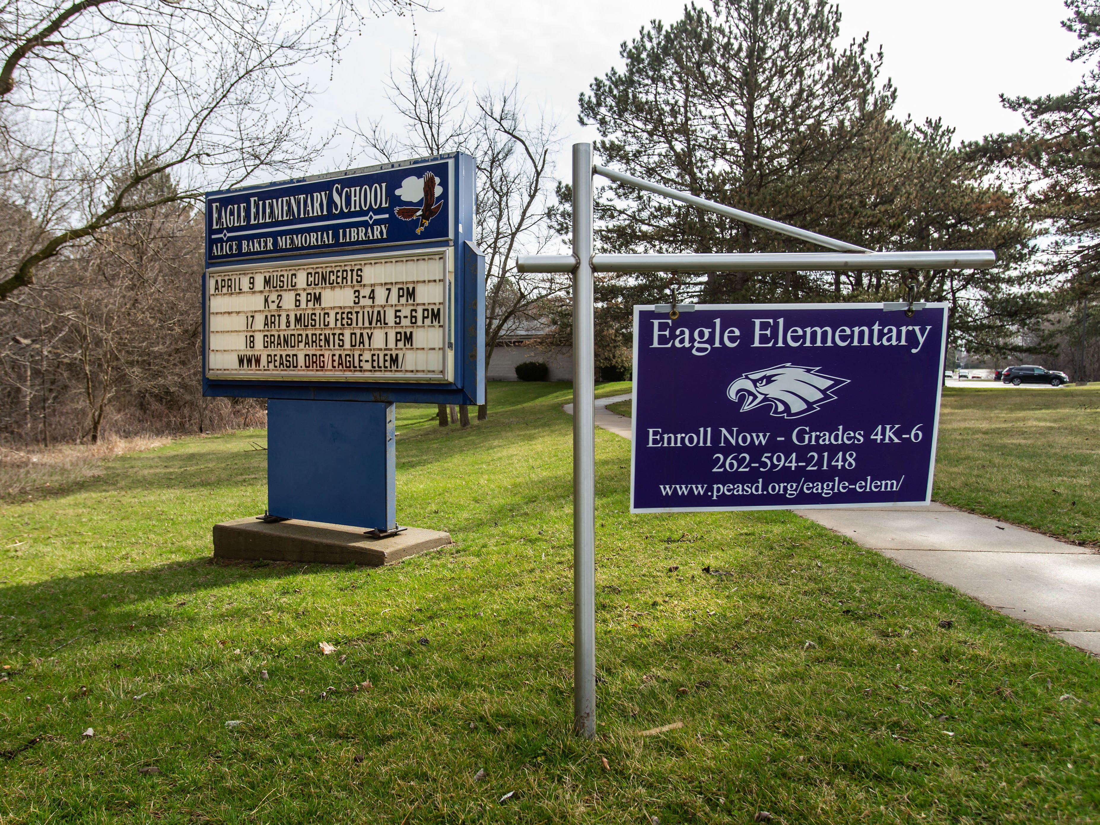 The entrance to Eagle Elementary School as seen on Tuesday, April 16, 2019.