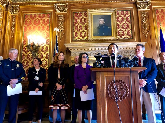 Attorney General Josh Kaul speaks to reporters Tuesday in the Wisconsin State Capitol about legislation he is proposing with a bipartisan group of lawmakers to put in state law a process to collect and analyze sexual assault evidence kits.
