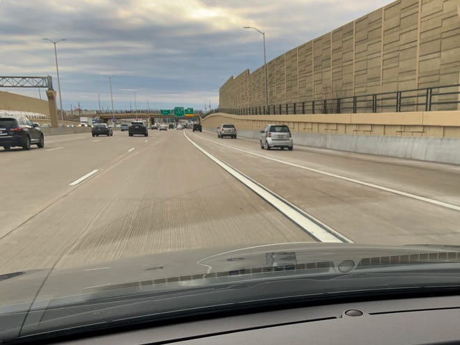 The narrowing triangular area between the traffic lane and the merging entrance ramp is marked by gore lines. This photo was taken on I-94 westbound at 70th Street. Columnist Jim Stingl was pulled over by a sheriff's deputy at this spot for crossing the gore lines, which is illegal.