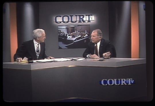 In the original Court TV's debut on July 1, 1991, chief anchor and managing editor Fred Graham and celebrity attorney F. Lee Bailey (right) opened the channel's first hour.