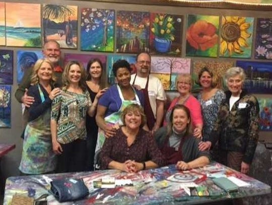 """For the past three years, Lad Lake has hosted a public """"Paint for Peace"""" event at A Stroke of Genius in Waukesha to raise awareness forSexual Assault Awareness Month, which is April,and National Denim Day, which falls onApril 24 this year."""