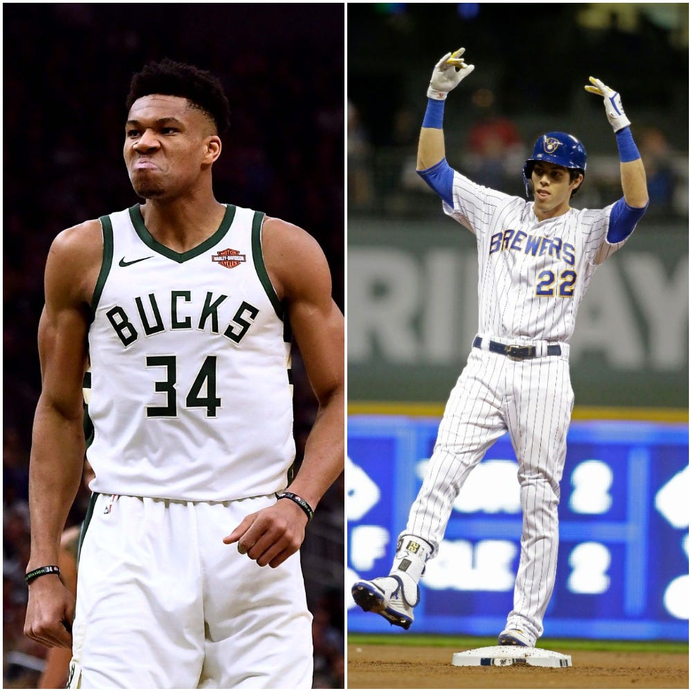 Christian Yelich and Giannis Antetokounmpo got to meet after Wednesday's game, part of an MVP gathering in Milwaukee