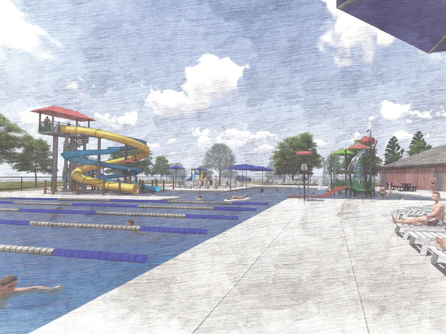 This rendering provides a more detailed look at the 7,500-foot community pool, which would feature a lap pool, zero-depth entry and a slide area.