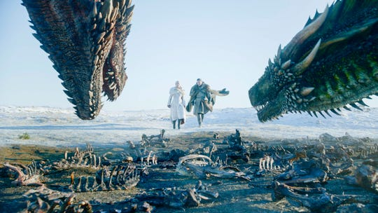 "Daenerys Targaryen (Emilia Clarke, left in center) and Jon Snow (Kit Harington) find themselves, and their dragons, in a complicated situation in the final season of ""Game of Thrones,"" which began Sunday."